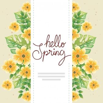 Bonjour printemps avec décoration fleurs et feuilles