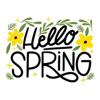 Bonjour printemps dessiné à la main