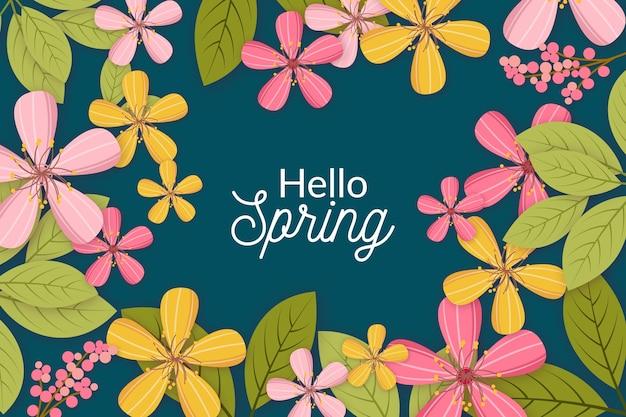 Bonjour printemps avec des feuilles vertes et des fleurs
