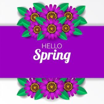 Bonjour printemps avec fleur de fleur pourpre