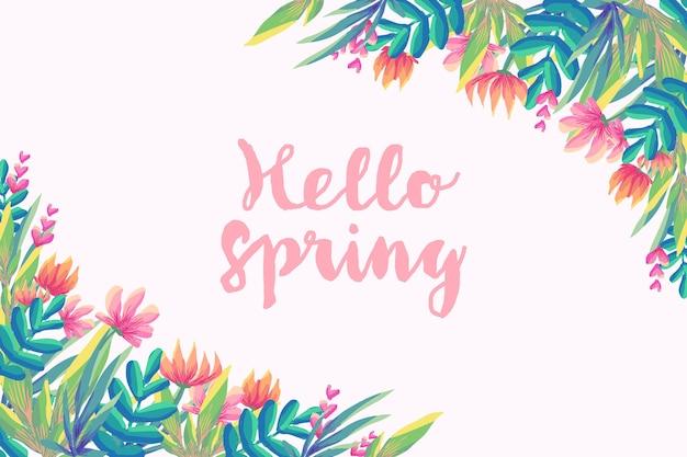 Bonjour printemps avec des fleurs