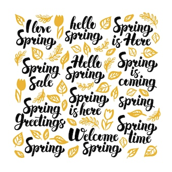 Bonjour printemps lettrage manuscrit. illustration vectorielle de la nature calligraphie sur blanc.