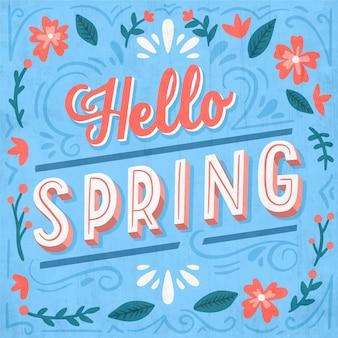 Bonjour printemps lettrage salutation design vintage