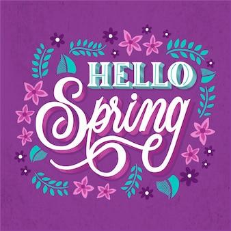 Bonjour printemps lettrage salutation avec des feuilles