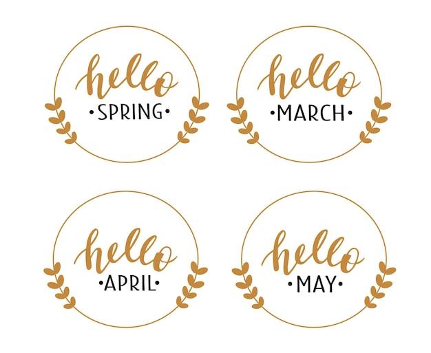 Bonjour printemps mars avril mai lettrage dessiné à la main