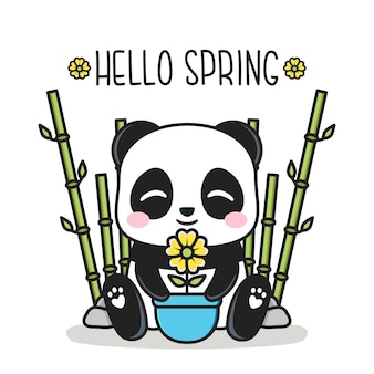 Bonjour le printemps avec un panda mignon et un pot de fleur