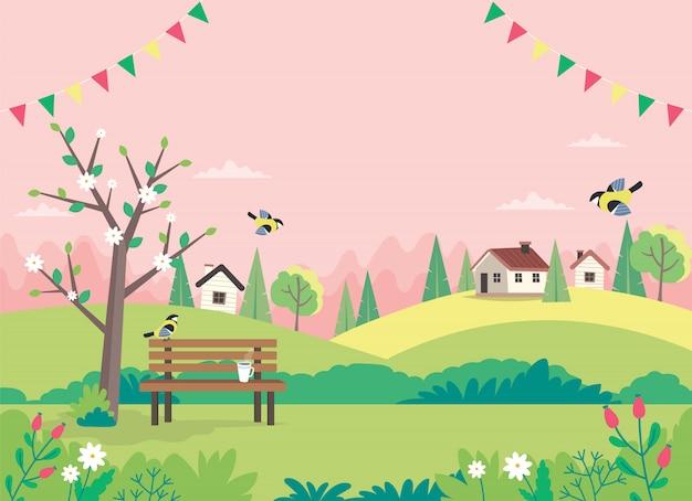 Bonjour printemps, paysage avec banc, maisons, champs et nature.