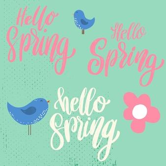 Bonjour printemps. phrase de lettrage sur fond avec décoration de fleurs.