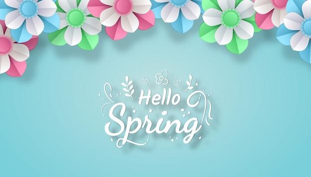 Bonjour le printemps avec le style d'art coupé en papier fleur coloré