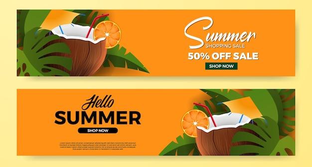 Bonjour promotion de bannière d'été avec une boisson à la noix de coco réaliste 3d avec des feuilles tropicales vertes