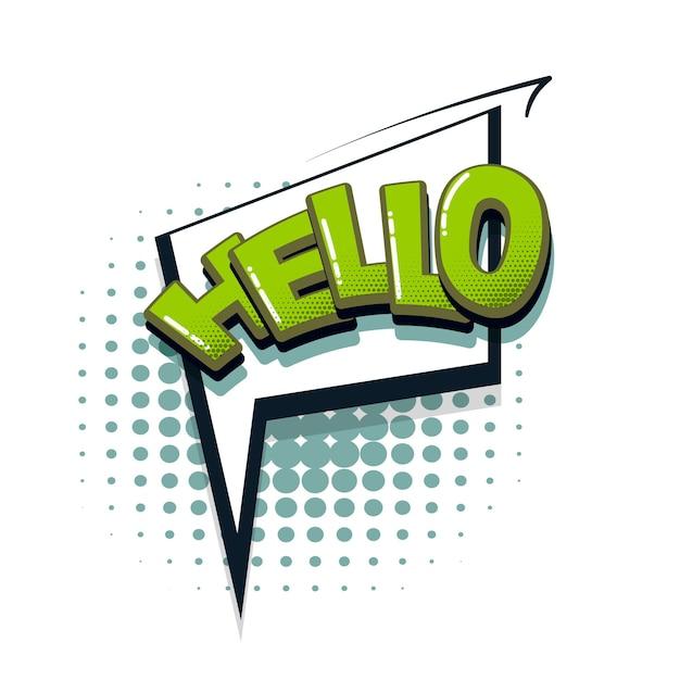 Bonjour salut texte comique effets sonores style pop art vecteur discours bulle mot dessin animé