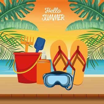 Bonjour scène saisonnière d'été avec tuba et tongs