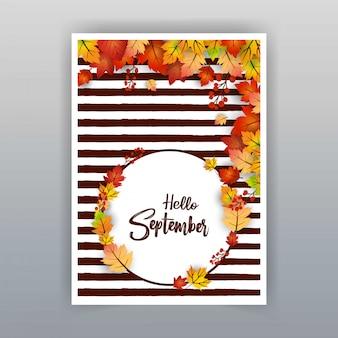 Bonjour septembre design de saison d'automne