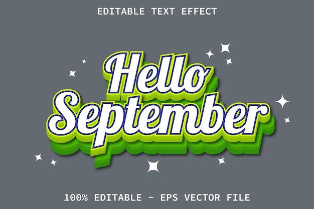Bonjour septembre avec effet de texte modifiable de style dessin animé en relief