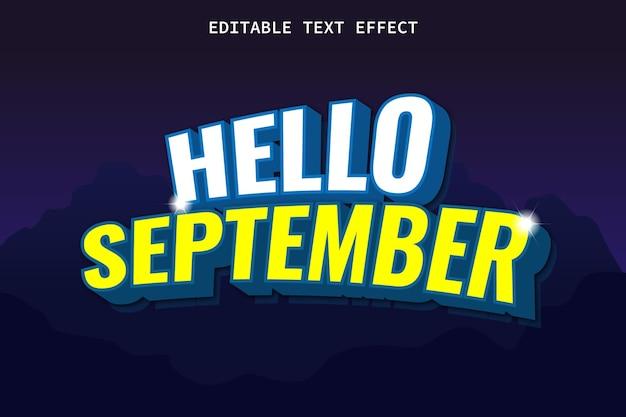 Bonjour septembre avec effet de texte modifiable de style moderne