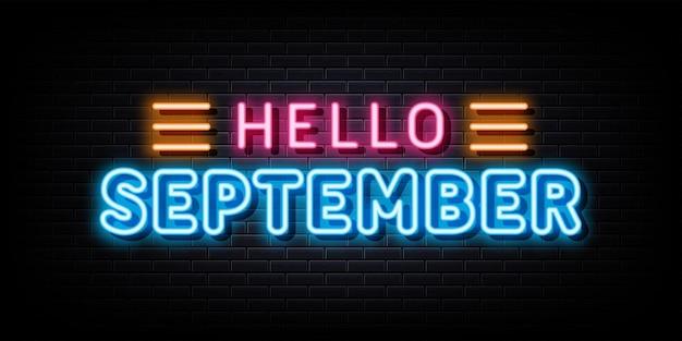 Bonjour signe au néon de septembre symbole au néon