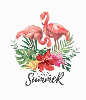 Bonjour slogan d'été avec couple de flamants roses et illustration de fleurs d'hibiscus