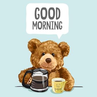 Bonjour slogan avec illustration de jouet d'ours et de tasse de café
