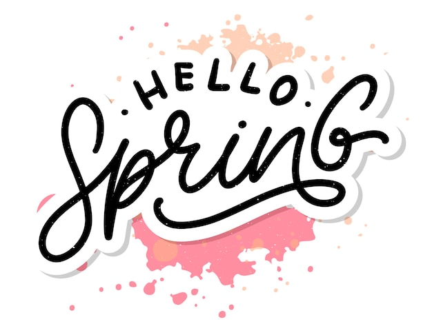 Bonjour slogan de lettrage de printemps