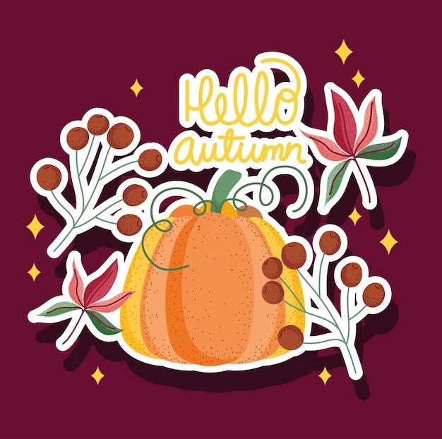 Bonjour style de carte de voeux automne