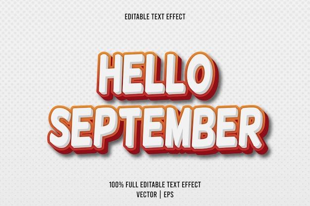 Bonjour style de dessin animé en relief effet de texte modifiable de septembre