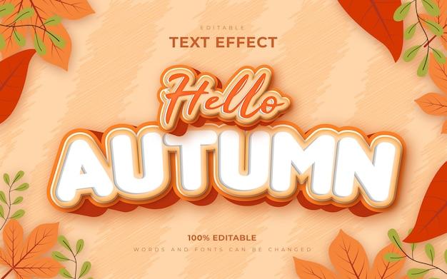 Bonjour style de modèle d'effets de texte modifiable automne