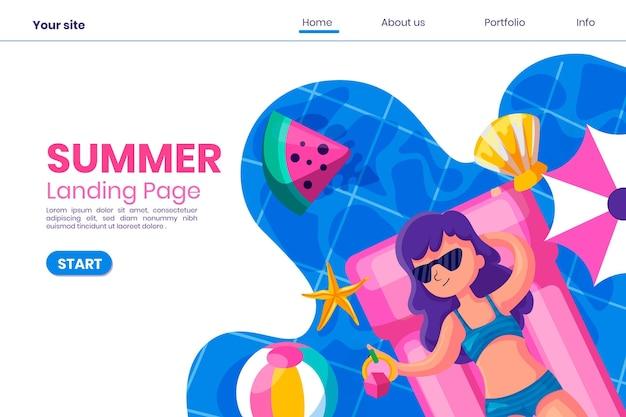Bonjour le style de page de destination d'été