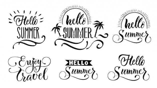 Bonjour summer lettering set