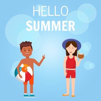 Bonjour summer square banner