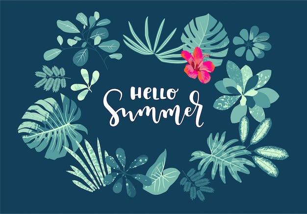 Bonjour summer summer design de calligraphie été avec monstera