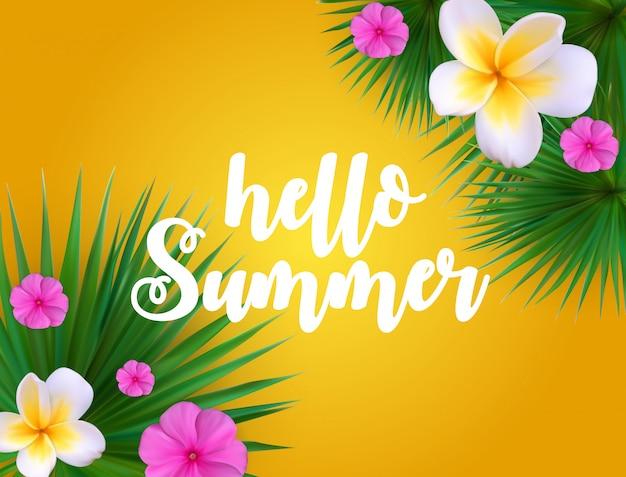 Bonjour summer summer floral background avec cadre