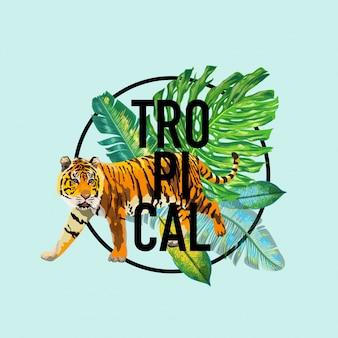 Bonjour summer tropical design avec des feuilles de palmier et des tigres