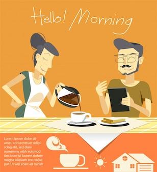 Bonjour avec une tasse de café