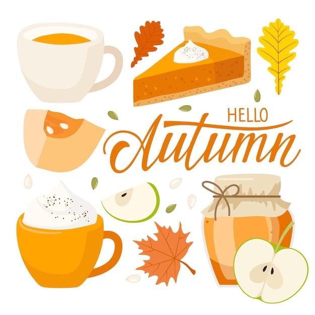 Bonjour texte d'automne tarte à la citrouille confiture latte thé aux pommes feuilles rouges lettrage manuscrit automne