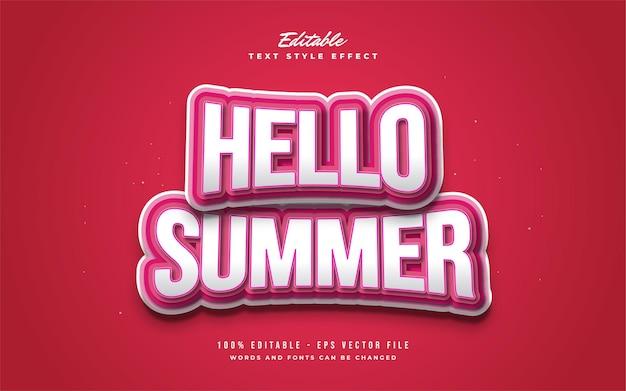 Bonjour texte d'été en blanc et rouge avec un style de bande dessinée et un effet de renflement