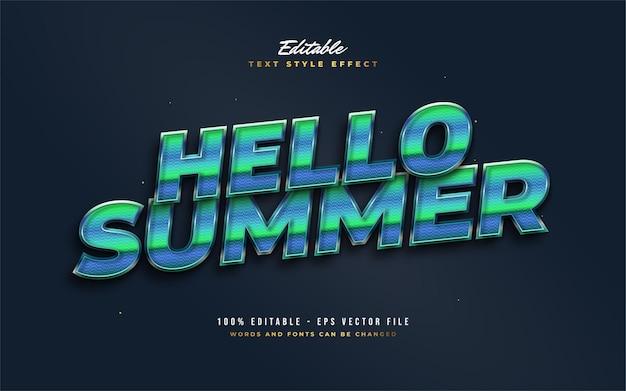 Bonjour texte d'été en bleu et vert avec un style rétro