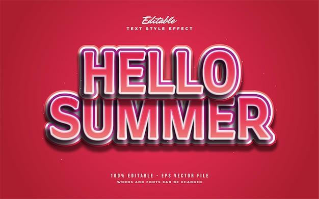 Bonjour texte d'été dans un style de dessin animé coloré avec effet en relief