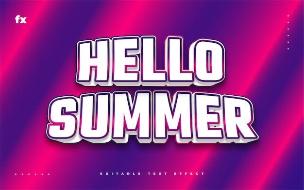 Bonjour texte d'été dans un style rétro coloré avec effet en relief 3d. effet de style de texte modifiable