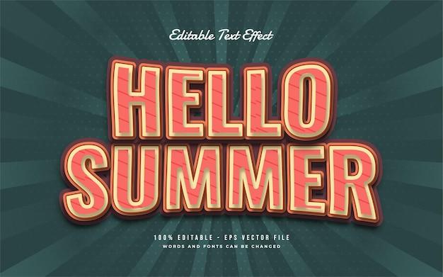 Bonjour texte d'été avec effet incurvé