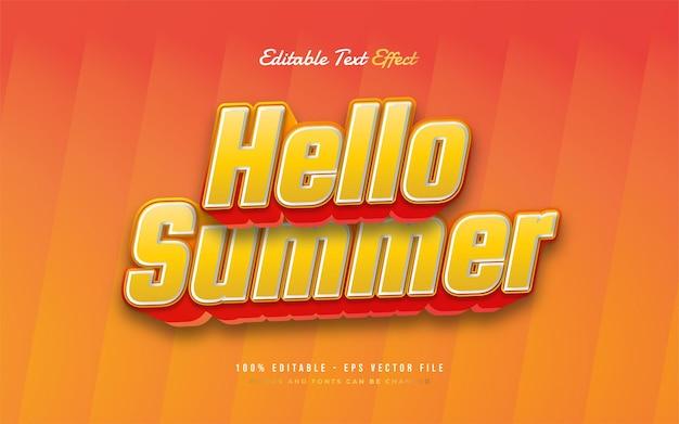 Bonjour texte d'été avec effet en relief