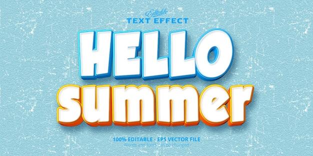 Bonjour texte d'été, effet de texte modifiable