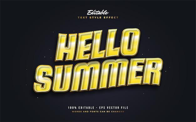 Bonjour texte d'été en jaune vif avec effet ondulé