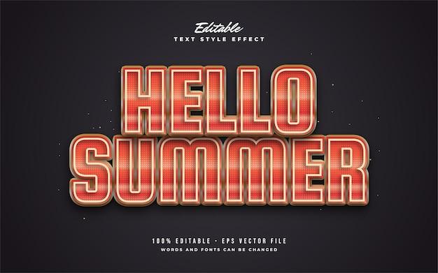 Bonjour texte d'été en orange vif avec effet texturé et en relief