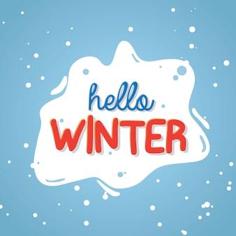 Bonjour texte d'hiver sur la neige