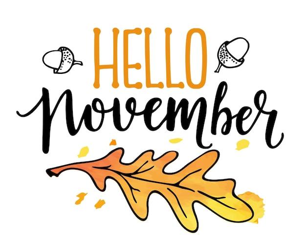 Bonjour texte de novembre avec une couronne de feuilles isolée bon pour l'impression textile de bannière d'affiche de carte de voeux