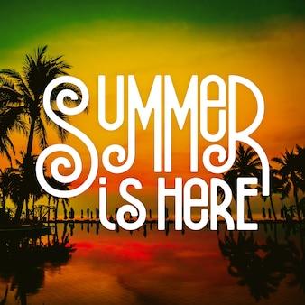 Bonjour le thème du message de lettrage d'été