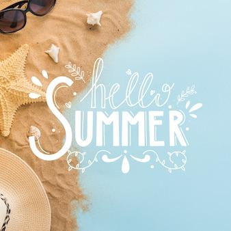 Bonjour thème de lettrage d'été