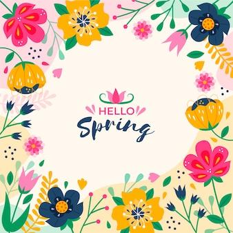 Bonjour thème de lettrage de printemps