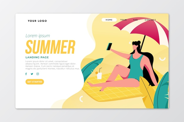 Bonjour le thème de la page de destination d'été