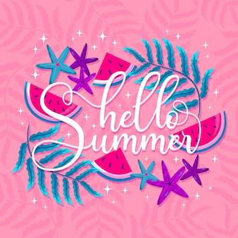 Bonjour tranches de lettrage d'été de pastèque